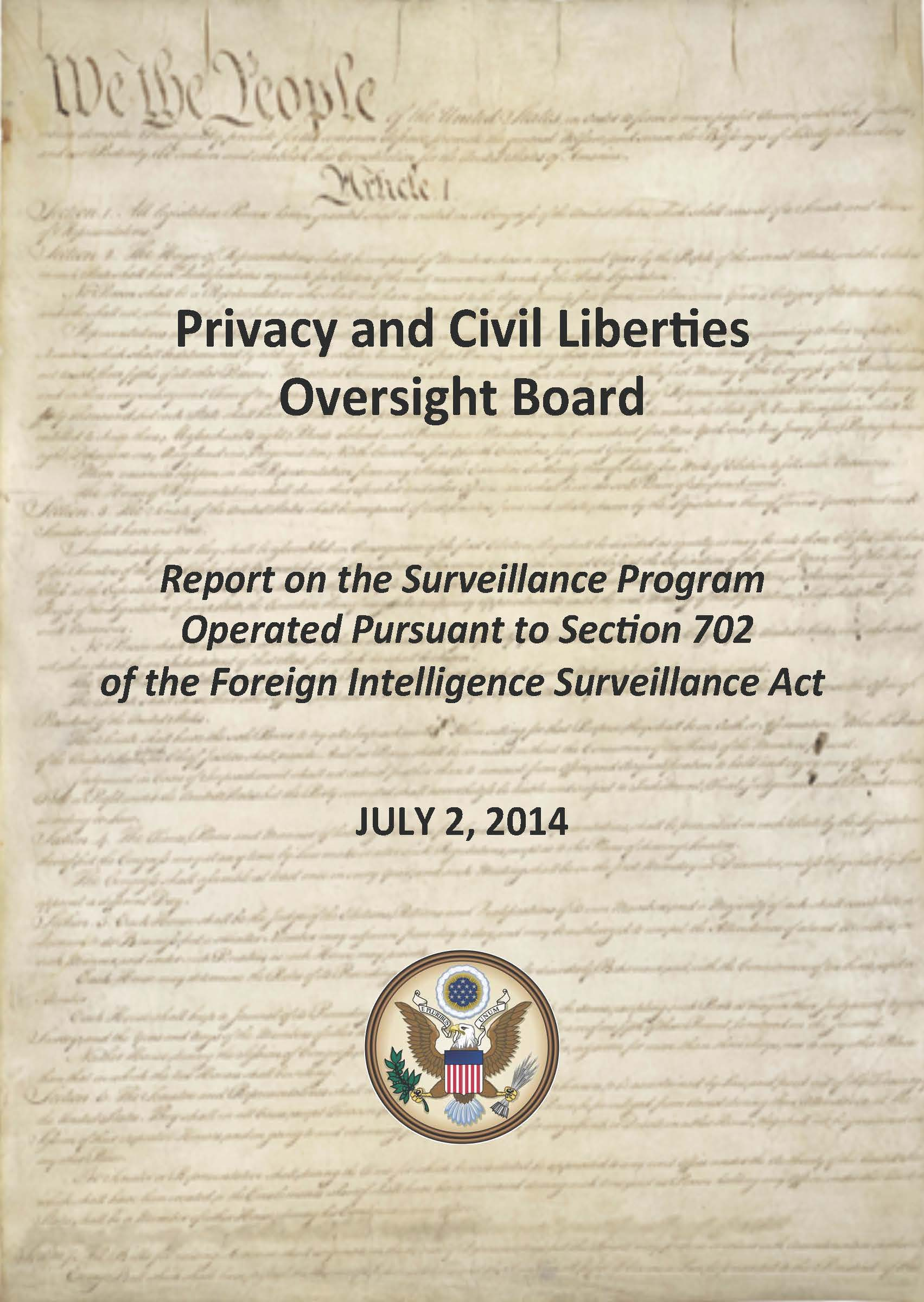 Cover for the Report on the Surveillance Program Operated Pursuant to Section 702 of the Foreign Intelligence Surveillance Act