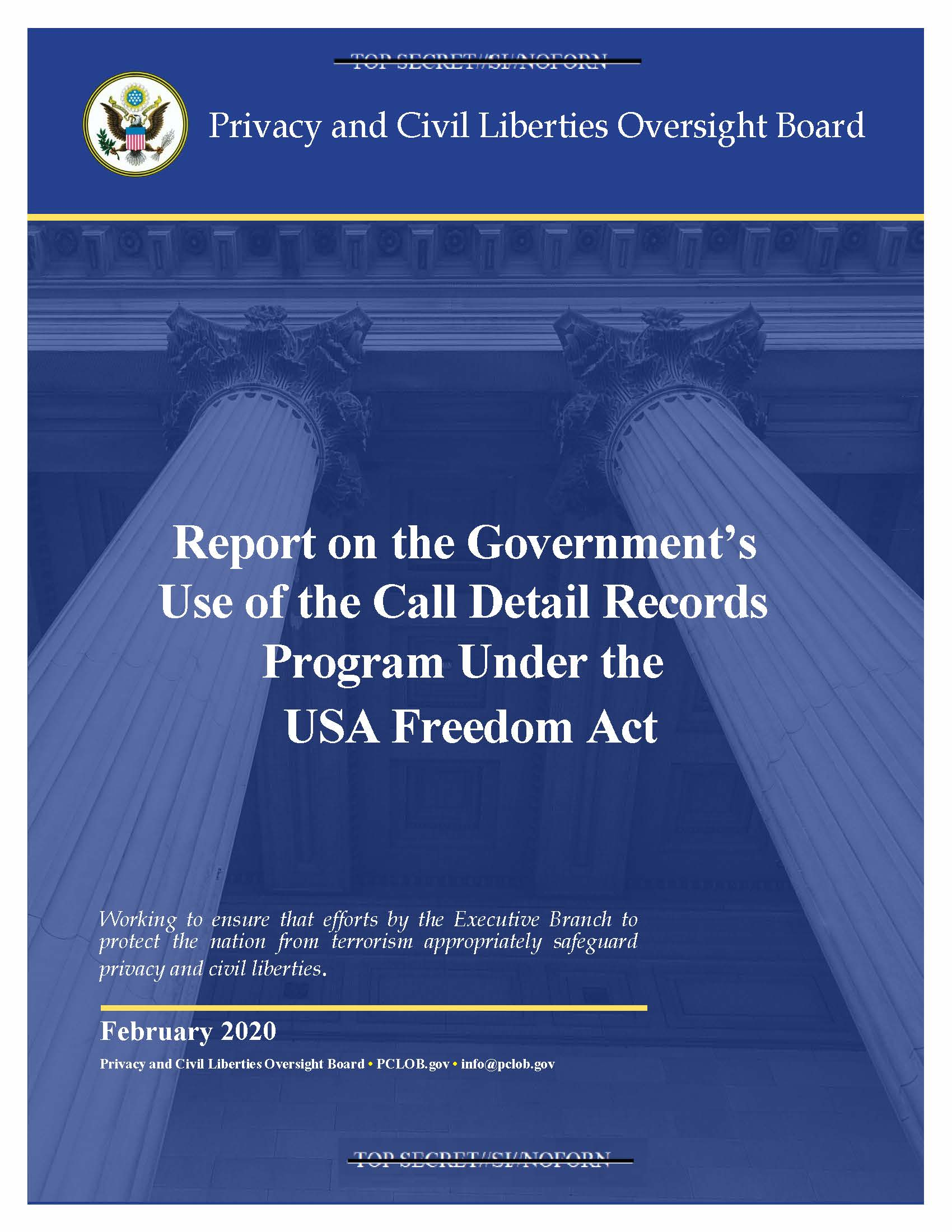 Cover of the Report on the USA Freedom Act Telephone Call Records Program.